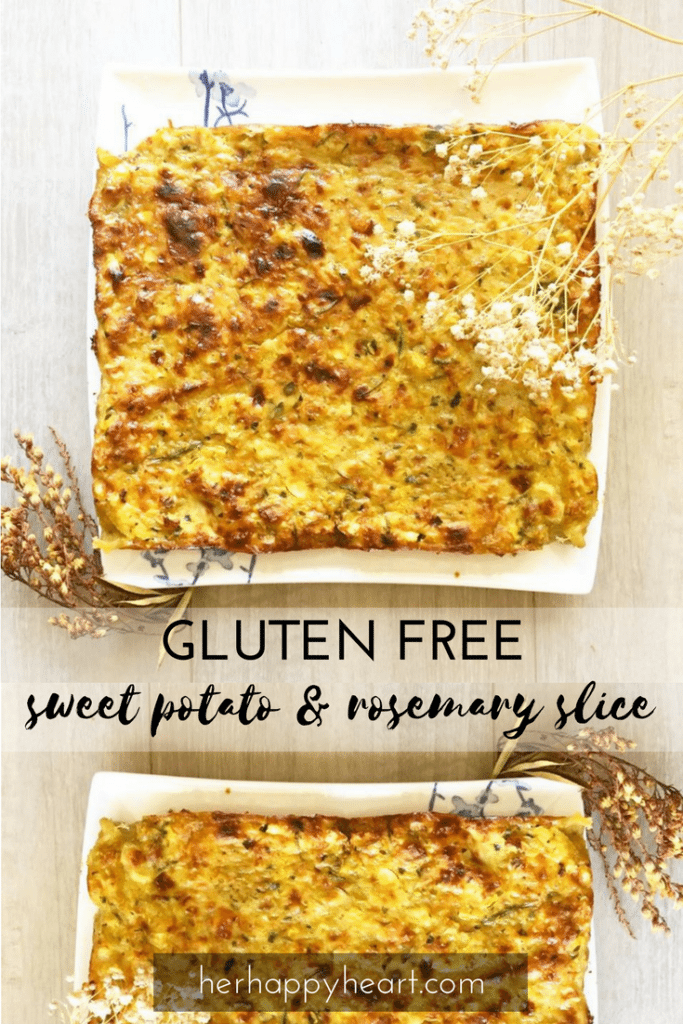 Gluten Free Sweet Potato & Rosemary Slice | This tasty, healthy slice recipe is quick and easy to throw together but packs a punch with sweet potato and fresh herbs! It can easily be made dairy free too!