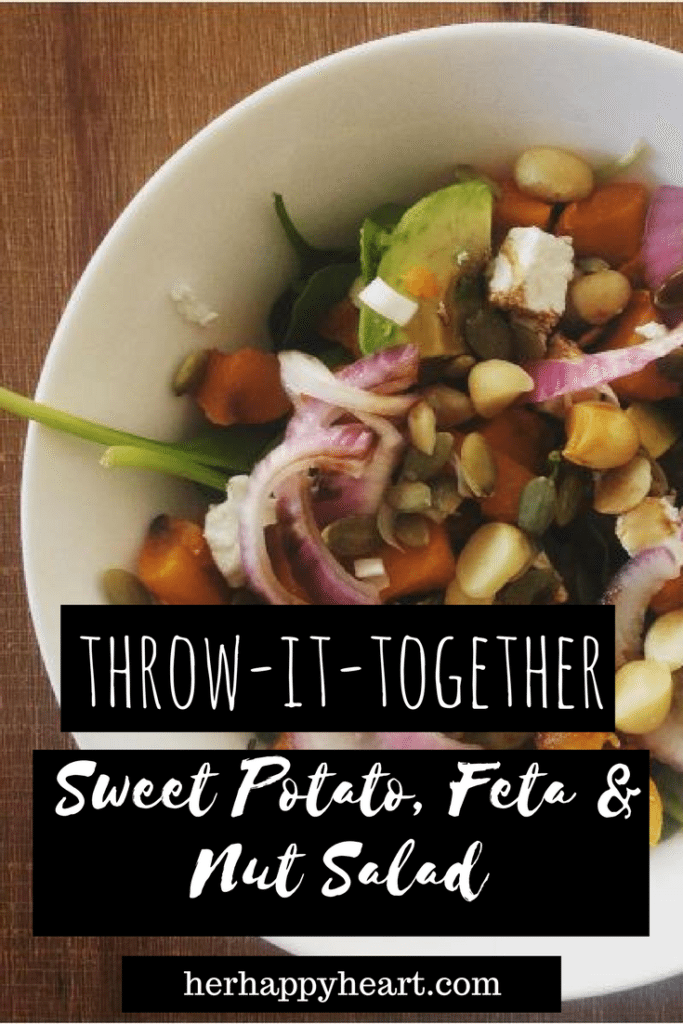 Throw-it-Together Sweet Potato, Feta & Nut Salad Recipe - Her Happy Heart