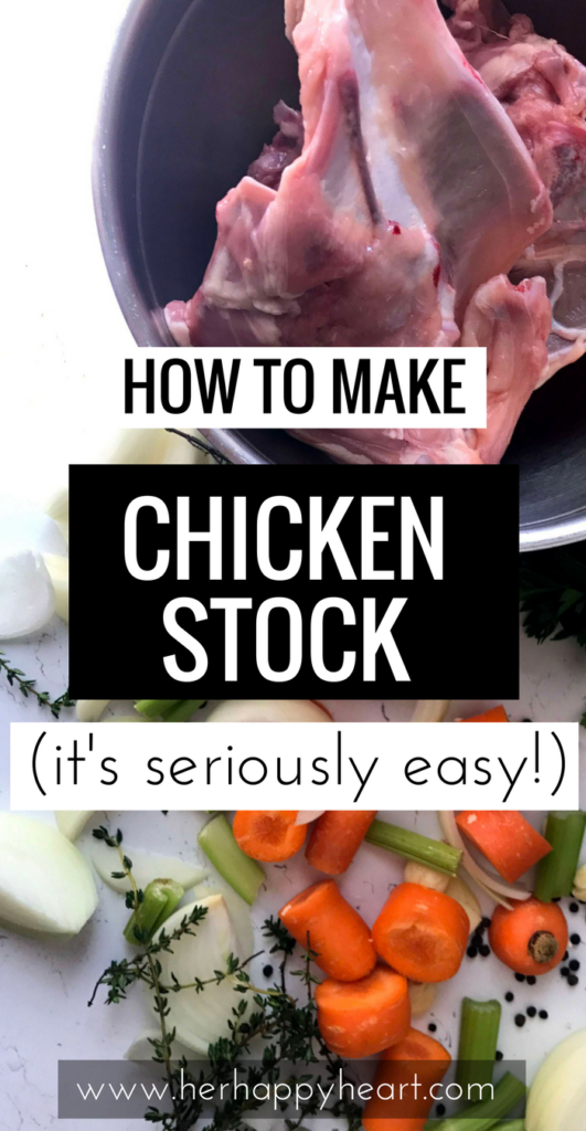 Make Your Own Chicken Stock | Have you made your own stock before? Stove top chicken stock is easy, healthy, and tastes a lot better than store-bought. Homemade chicken stock | Chicken broth | Chicken stock recipe | Cooking from scratch | Healthy cooking