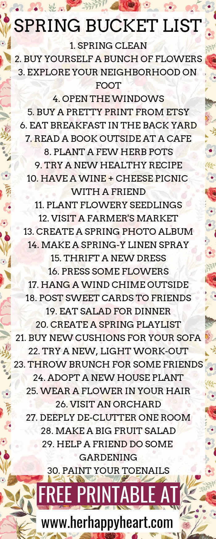 Spring bucket list | Spring things to do with friends, family, boyfriend and husband | Things to do alone at home in Spring | Fun awesome Spring activities