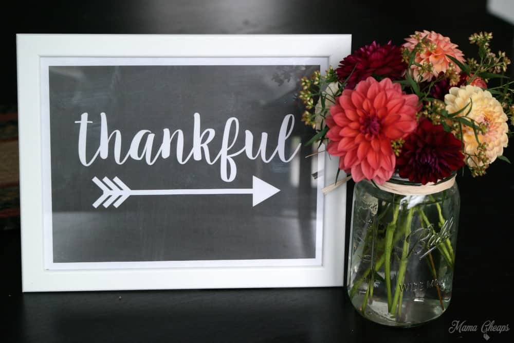 DIY Fall Decor Thankful Free Printable Sign