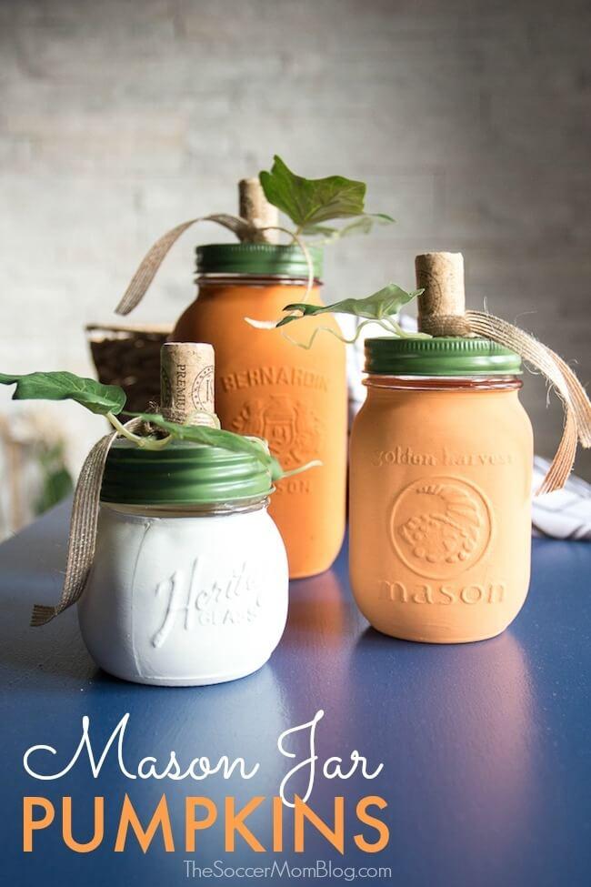 DIY Fall Decor Mason Jar Pumpkins