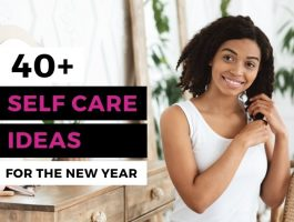 Smiling woman engaging in self-care
