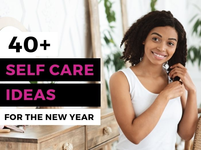 Smiling woman engaging in self-care in the new year